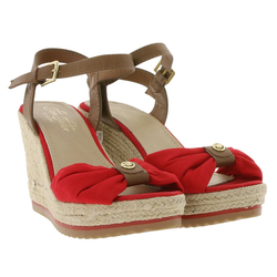 TOM TAILOR TOM TAILOR Sandalen schicke Damen Zehentrenner Trend-Sandale mit gesticktem Logo Rot/Braun Sandale