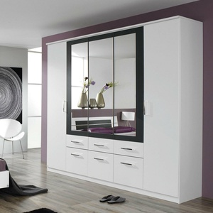 Kleiderschrank Burano 5-trg Schrank in Weiß und Grau Metallic mit Spiegel 226 cm