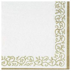 Linoows Papierserviette 20 Servietten, Goldene Randornamente im Rokoko, Motiv Goldene Randornamente im Rokoko Stil