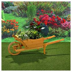 Mucola Pflanzkübel Garten Dekoration Holzschubkarre Blumenkarre Schubkarre Pflanztrog, 129 x 45 x 43 cm braun