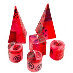 Afrika-Deko Formkerze 6er-Kerzenset rosa