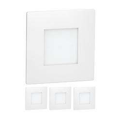 LED Treppen-Licht FEX Treppenbeleuchtung, weiß, eckig, 8,5x8,5cm, 230V, blau, 4 Stk.