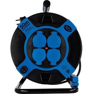 REV Kabeltrommel blau, 50m, außen, IP44, 4-fach Schutzkontakt