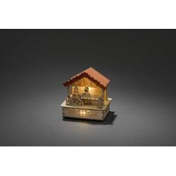 Konstsmide 2821-100 Holz-Figur Markt Warmweiß LED Natur, Orange Indirekter Lichtaustritt, mit Schal