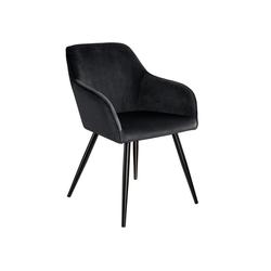 tectake Esszimmerstuhl Stuhl Marilyn Samtoptik, schwarze Stuhlbeine schwarz