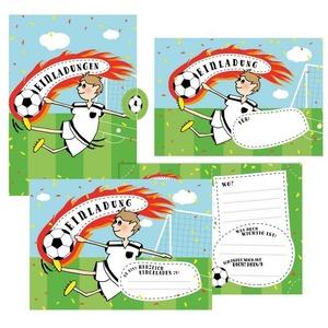 12 Einladungskarten Fußball zum Geburtstag für Jungs inkl. Umschläge