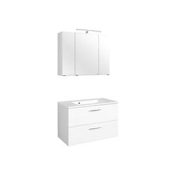 Lomadox Waschtisch-Set BERGAMO-03, (Spar-Set, 2-tlg), Waschtisch & Spiegelschrank, weiß, B x H x T ca.: 80 x 200 x 48cm 80 cm x 200 cm x 48 cm