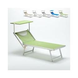 Sonnenliege Luxus Italienische Strandliege mit Dach Alu Italia | Grün