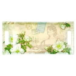 Lashuma Tablett Gardenien, Melamin, Küchentablett mit Griffen, Geschirrtablett bedruckt grün 41 cm x 19 cm x 3 cm