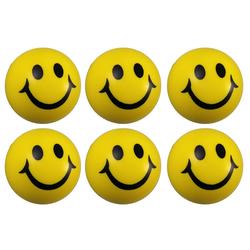 6 x Smiley Knautschball Antistressball Softball Schaumstoff Ball gelb