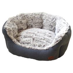 Nobby Hundebett oval Cacho grau/blau, Maße: 55 x 50 x 21 cm