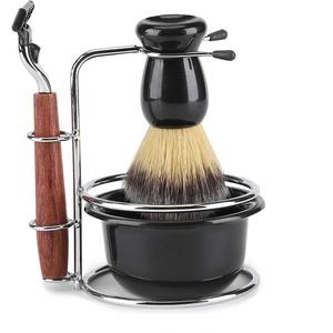 idalinya 4er Rasierset Manual Razor + Stainess Steel Ständer Holder + Brush + Bowl Set