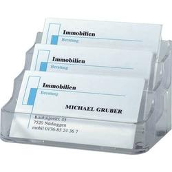 Visitenkarten-Aufsteller glasklar mit 3 Fächern Hartplastik für Karten bis 94mm Breite
