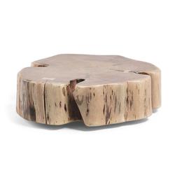 Rollbarer Couchtisch mit Baumscheibe Akazie Massivholz