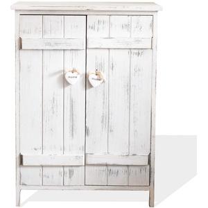 Rebecca Mobili Küchenschrank Kommode Badezimmerschrank 2 Türen Weiß Shabby Chic Herzen Eingang - Maße: 70 x 51 x 30 cm (HxLxB) - Art. RE4573