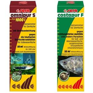 sera omnipur S 50 ml - Arzneimittel für Fische gegen die häufigsten Zierfischkrankheiten im Süßwasser & costapur F 50 ml - Arzneimittel für Fische gegen Ichthyophthirius multifiliis