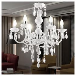 etc-shop Kronleuchter, LED 24 Watt Kronleuchter weiß Pendel Lampe E14 Beleuchtung Hänge Leuchte Acryl Dekor