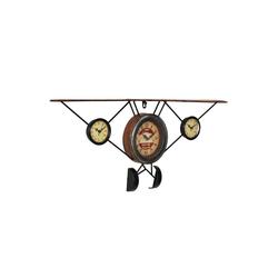 en.casa Wanduhr (Flugzeug Design Uhr Metall)