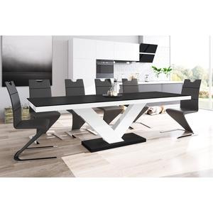 designimpex Esstisch Design Esstisch Tisch HE-999 Schwarz MATT / Weiß HOCHGLANZ KOMBINATION ausziehbar 160 bis 256 cm schwarz