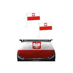 Sonia Originelli Fahne Auto Fan-Paket Haubenfahne Fensterfahnen Spiegelfahnen Magnetflaggen Polen Poland Polska, Fanartikel für das Auto in Polen-Farben Fanset-10