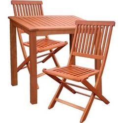 3tlg. Holz Tischgruppe Gartenmöbel Gartentisch Stuhl Garten Hochlehner Tisch