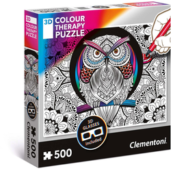 Clementoni® Puzzle Colour Therapy - Eule, 500 Puzzleteile, mit 3D Effekt; Made in Europe