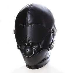 Sandritas Erotik-Maske Bondagemaske mit Ballknebel Ledermaske Kopfmaske Bondage BDSM Augenbinde