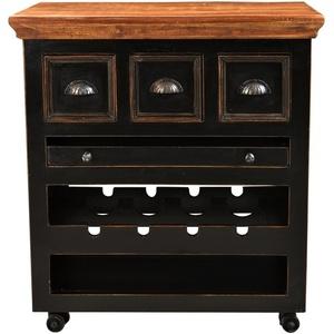 SIT CORSICA Küchenwagen 3 Schubladen, 1 herausnehmbares Tablett , Ablage für 4 Flaschen schwarz