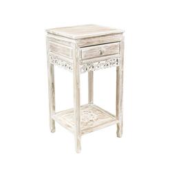 Oriental Galerie Nachttisch Nachttisch Weiß mit Schublade, Handarbeit