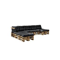 en.casa Palettenkissen, Ingenio Palettensofa 5-Sitzer Palettenmöbel inkl. Kissen Lehnen und 8 Paletten Dunkelgrau grau