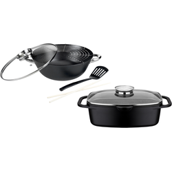 GSW Topf-Set Gourmet Granit, Gusseisen, (Set, 4 tlg.), Induktion schwarz Topfsets Töpfe Haushaltswaren