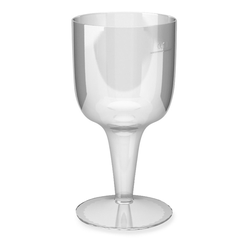 Einweg-Weinglas 100ml,  PS, 2 tlg. Ausführung, transparent glasklar,  6 Stk.