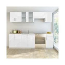 Küchenzeile 7-tlg. Hochglanz Weiß 240 cm 08855 - Topdeal