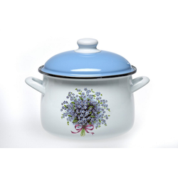 acerto® Feuertopf acerto® Emaillierter Topf mit Deckel für alle Herdarten Induktion weiß/blau Flower 5,5 L