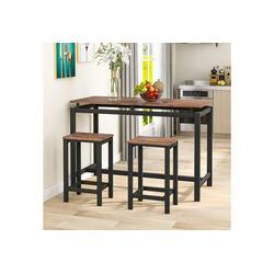 PHOEBE CAT Bartisch, 3-teiliges Stehtisch Set aus Eisenholz, Küchentisch und Stühle, Stehtisch und Barhocker, Bartisch und Stühle braun