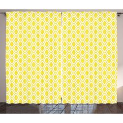Gardine Schlafzimmer Kräuselband Vorhang mit Schlaufen und Haken, Abakuhaus, Zitronen Abstrakte Zitrone Motive Kunst 280 cm x 245 cm