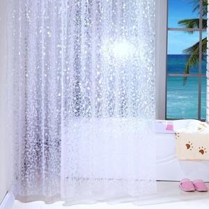Duschvorhang Anti-Schimmel & Wasserdicht Halbtransparent Kieselsteine PEVA Duschvorhang für Badezimmer mit Haken 240x200cm