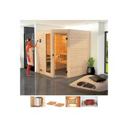 weka Sauna Lars Trend Eck 2, BxTxH: 189 x 189 x 203,5 cm, 38 mm, 9 kW Ofen mit int. Steuerung