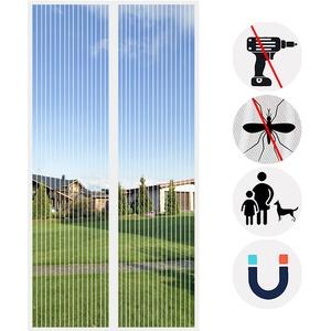 Magnet Fliegengitter Tür, Insektenschutz Tür, Automatisches Schließen Magnet, für Balkontür Wohnzimmertür Terrassentür-White-B   85x210cm(33x82inch)