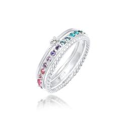 Elli Ring-Set Kristalle Farbig Regenbogen Set (3 tlg) 925 Silber, Kristall Ring silberfarben 58