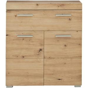 trendteam smart living Badezimmer Schrank Kommode Amanda, 73 x 79 x 31 cm in Asteiche mit Schubkasten und viel Stauraum