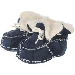 Baby Krabbelschuhe in Lammfell-Optik dunkelblau Gr. 16/17 Jungen Baby