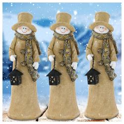 etc-shop LED Dekolicht, 3er Set Steh Figuren Keramik Schneemann Winter Weihnachts Dekoration X-MAS Advent Schmuck Fensterbank