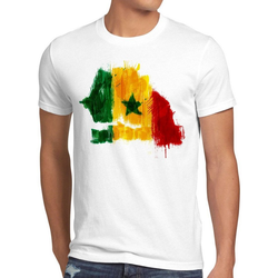 style3 Print-Shirt Herren T-Shirt Flagge Senegal Fußball Sport Afrika WM EM Fahne weiß XL