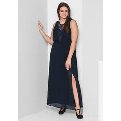Sheego Abendkleid mit leicht transparentem Spitzeneinsatz blau 52