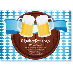 Einladungskarten Oktoberfest (10 Karten) selbst gestalten, Oktoberfest - Bierfass - Blau