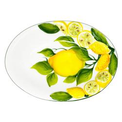 Lashuma Servierplatte Zitrone Zitrone, Keramik, Flache Servierschüssel 20x14 cm, Italienischer Obstteller oval