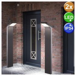 etc-shop LED Außen-Stehlampe, 2x LED Außen Steh Lampen Terrassen Geh Weg ALU Glas Strahler Hof Stand Leuchten