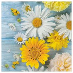 Linoows Papierserviette 20 Servietten, Margeriten und gelbe Gartenblumen, Motiv Margeriten und gelbe Gartenblumen