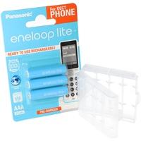 Panasonic 3er eneloop lite Micro Akku BK-4LCCE/3DE NiMH 1,2V / 600mAh Akku für DECT Telefon inkl. AccuSafe AAA